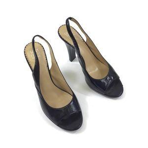 Saks fifth avenue black leather sling back heels 8